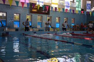 Окружные соревнования по плаванию и волейболу.