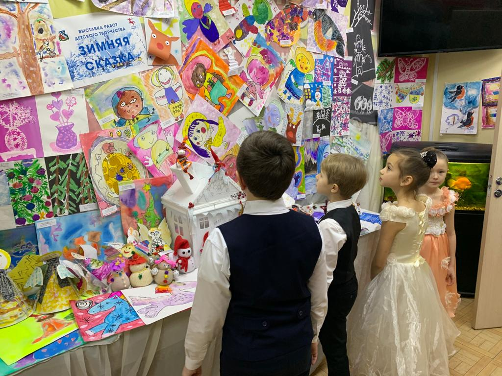 Выставка работ детского творчества на тему: «Зимняя сказка»